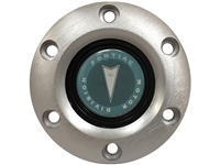 S6 Brushed Horn Button with Classic Pontiac Green Arrow Emblem