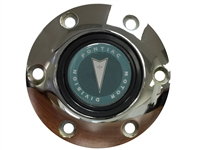S6 Chrome Horn Button with Classic Pontiac Green Arrow Emblem