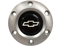 S6 Brushed Horn Button with Silver Chevy Bow Tie Emblem
