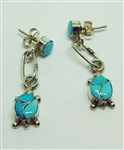 Turquoise Inlay Turtle Earrings