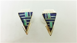 Lapis Lazuli and Turquoise Inlay Earrings