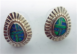 Fire Opal Inlay Earrings