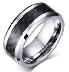 Tungsten Black Carbon Fiber Ring