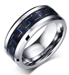 Tungsten Carbide  Blue Carbon Fiber Ring