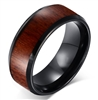 Tungsten Carbide Black Wood Ring