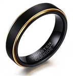 Tungsten Carbide Black and Gold Ring