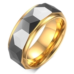Tungsten Faceted Gold Ring