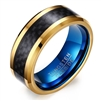 Tungsten Gold Black & Blue Ring