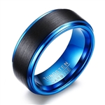 Tungsten Carbide Black and Blue Ring