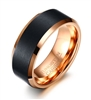 Tungsten Rose Gold Black Ring