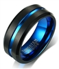 Tungsten Black Matte Blue Centerline Ring