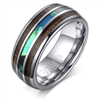 Tungsten Carbide Wood & Shell Inlay Ring