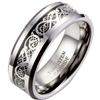 Tungsten Silver Celtic Dragon Ring
