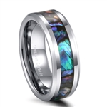 Tungsten Abalone Inlay Ring