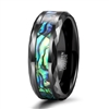 Tungsten Black Abalone Inlay Ring