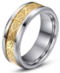 Tungsten Gold Celtic Dragon Ring