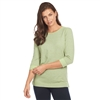 FDJ t-Shirt Pinstripe crew neck top Style # 1352108 Lime