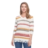 FDJ SWEATER CHEVRON STRIPE V NECK