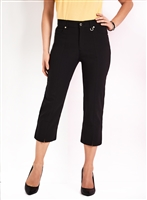 Simon Chang Slit Front Capri Pants Style #3-5353 Colour Black left in stock 6, 8, 10, 16