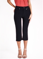 Simon Chang Slit Front Capri Pants Style #3-5353 Colour Navy