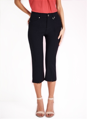 Simon Chang Slit Front Capri Pants Style #3-5353 Colour Navy left in stock  2, 6, 10, 16