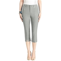 Simon Chang Slit Front Capri Pants Style #Petite 3-5353Pt Colour Grey