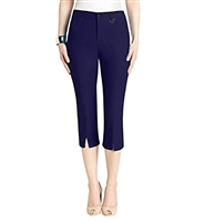 Simon Chang Slit Front Capri Pants Style #3-5353pt petite Colour Navy