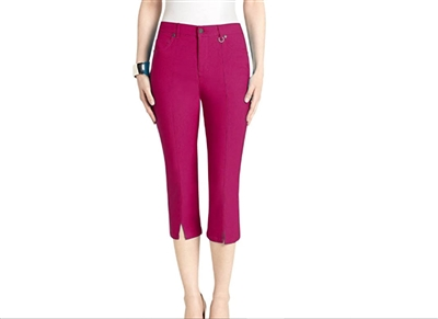 Simon Chang Slit Front Capri Pants Style #Petite 3-5353Pt Colour Red