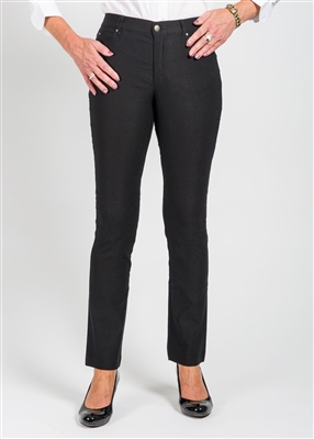 Simon Chang Jean 5 Pocket Slim-Straight Leg Style # 6643P -  Petite Colour Black