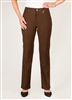 Simon Chang 5 Pocket Straight Leg Microtwill Pants Style # 3-5302P - Colour: Brown - [PETITE] left in stock 2 PT, 4 PT,8 PT, 10 PT, 14 PT, 16 PT