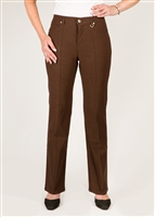 Simon Chang 5 Pocket Straight Leg Microtwill Pants Style # 3-5302P - Colour: Brown - [PETITE] left in stock 2 PT, 4 PT,8 PT, 10 PT, 14 PT,