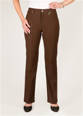 Simon Chang 5 Pocket Straight Leg Microtwill Pants Style # 3-5302P - Colour: Brown - [PETITE] left in stock 4 PT, 10 PT, 12 PT, 16 PT