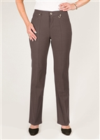 Simon Chang 5 Pocket Straight Leg Microtwill Pants Style # 3-5302P - Colour: Mocha - [PETITE] 2PT 4PT 8PT 10PT left in stock