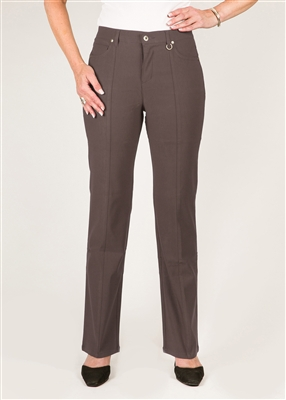Simon Chang 5 Pocket Straight Leg Microtwill Pants Style # 3-5302P - Colour: Mocha - [PETITE] 2 PT, 4 PT, 8 PT,  left in stock