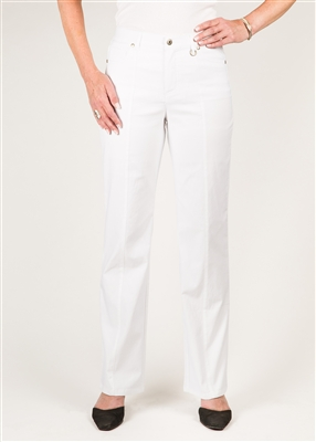 Simon Chang 5 Pocket Straight Leg Microtwill Pants Style # 3-5302P - Colour: White - [PETITE]
