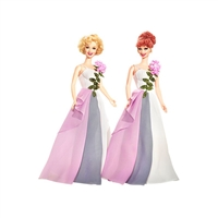 Lucy and Ethel Buy the Same Dress Barbie Dolls Pink Label