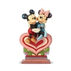 Disney Traditions Mickey Mouse and Minnie Mouse Sitting on Heart Heart to Heart Statue by Jim Shore