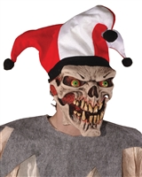 Die Laughing Latex Halloween Jester Skelletal Mask With Hat