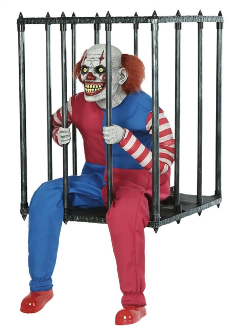 Animated Caged Clown Halloween Prop
