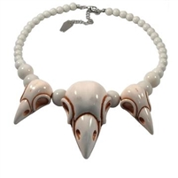 Crow Skull Collection Necklace White
