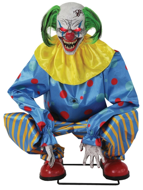 Animated Crouching Clown Halloween PropBlue