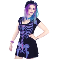 Day Of The Dead Skeleton Flare Dress