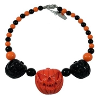 Jack O Lantern Pumpkin Necklace Black/Orange
