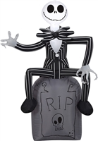 Airblown Animated Jack Skellington On Tombstone Halloween Lawn Decoration