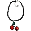 Cherry Skull Necklace Black
