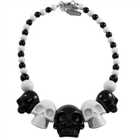 Skull Collection Necklace 2 Tone Black White