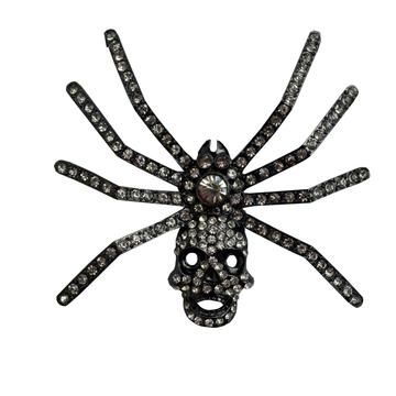 Dia Spider Skull Brooch Clear