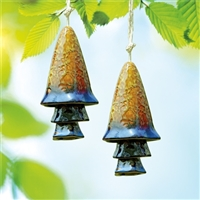 Blue Banded Mushroom Windchime, Set of 2
