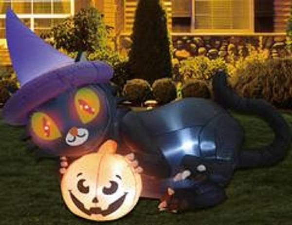 Halloween inflatables Blow up Witch's Black Cat Yard Prop Decoration Indoor Outdoor 6ft Long