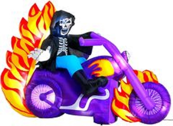 Halloween Inflatable Grim Reaper On Motorcycle